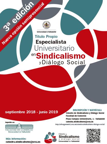Nota informativa Título de Especialista Universitario en Sindicalismo y Diálogo Social, curso 2018-19