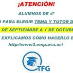 Se inicia el proceso para buscar tema y tutor del TFG (solo para alumnos de 4º)